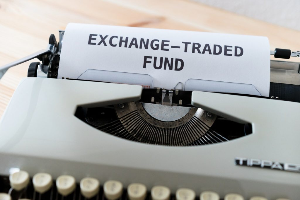 """The words """"Exchange-Traded Fund"""" written on a typewriter."""