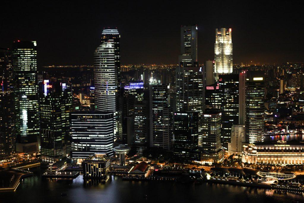 A city skyline at night.