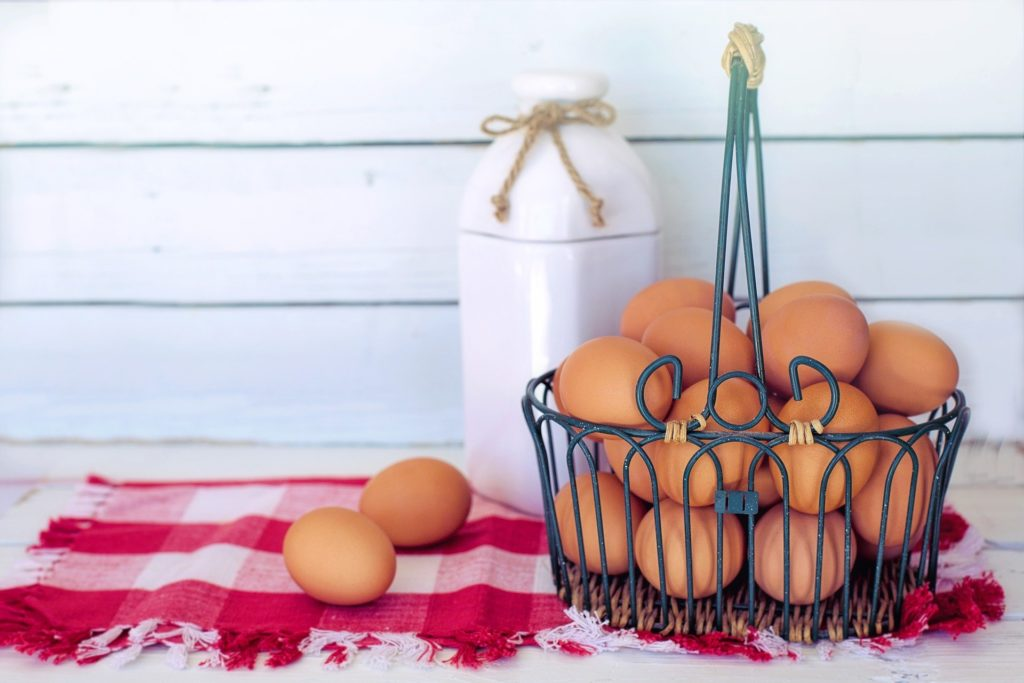 A basket of eggs used to demonstrate the concept of diversification.