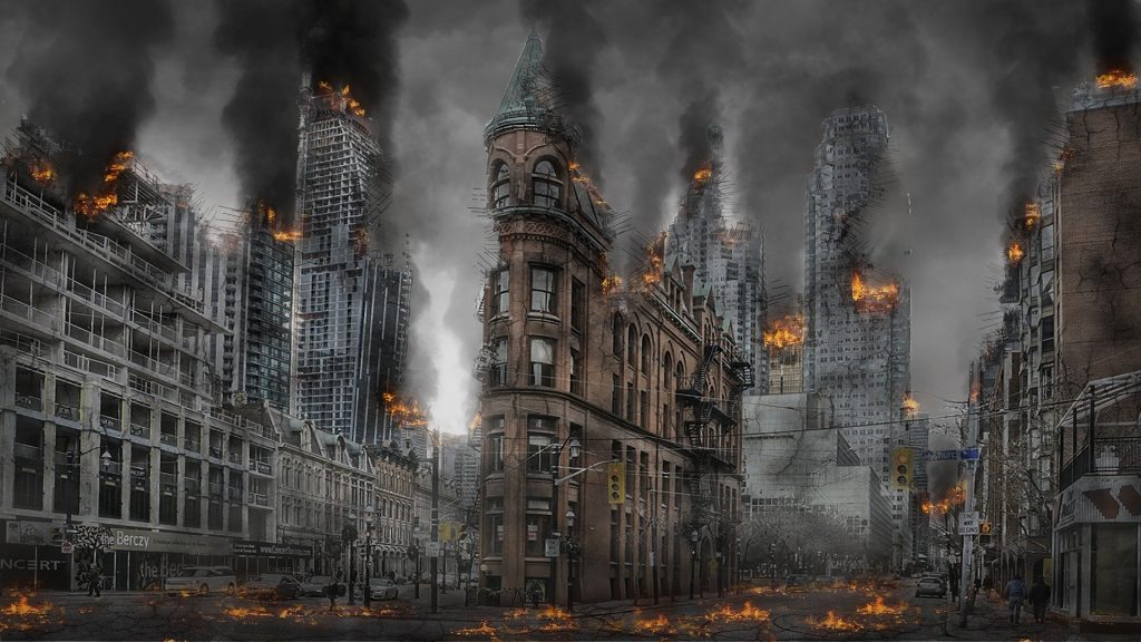 A burned out city representing the apocalypse.