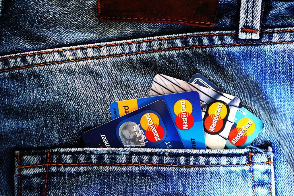 A pocket full of credit cards.