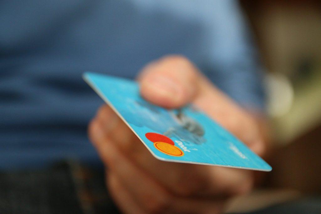 A closeup of a blue Mastercard.