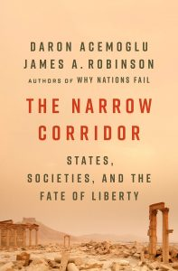 The cover of The Narrow Corridor by Daron Acemoglu and James A. Robinson.