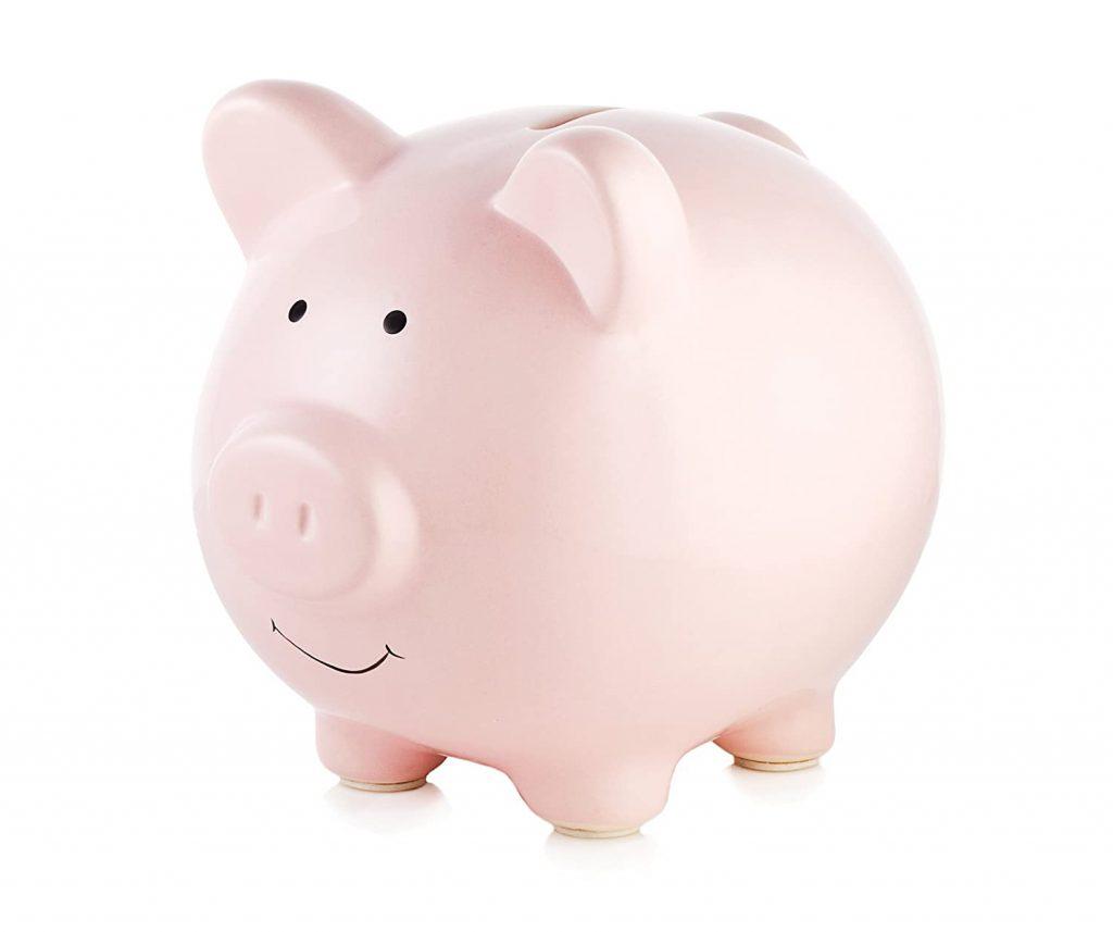 A pink piggy bank.