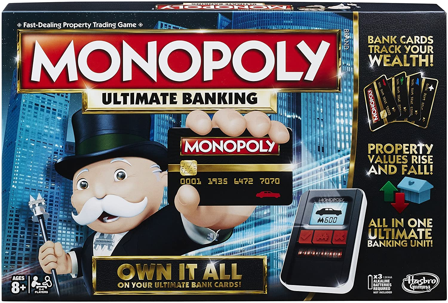 A picture of the Monopoly Ultimate Banking board game box.