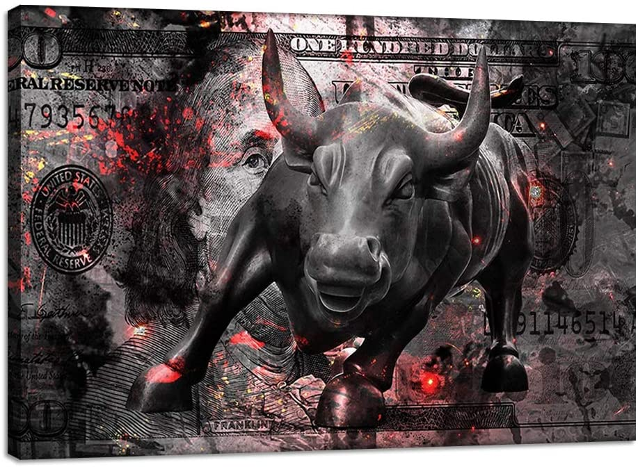 A painting of Wall Street's charging bull.